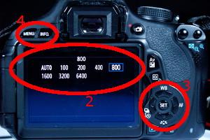 EOS 600D: ISO-Wert einstellen, Rückseite
