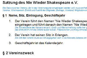 Verein gegründet: Satzung Nie Wieder Shakespeare