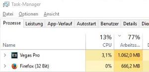 RAM Auslastung im Taskmanager